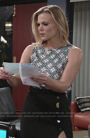 Phyllis's geometric patterned top and high slit skirt on The Young and the Restless