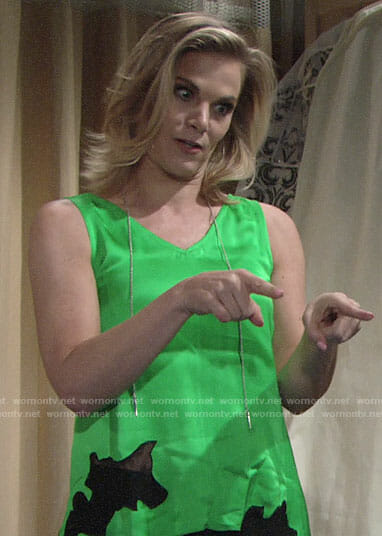 Phyllis's green satin top with black lace on The Young and the Restless