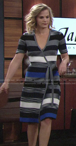 Phyllis's blue striped wrap dress on The Young and the Restless