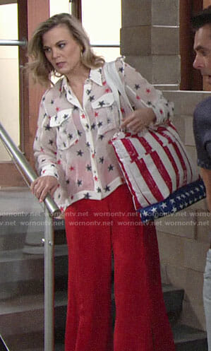Phyllis's star print blouse on The Young and the Restless