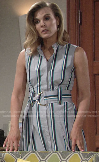 Phyllis's striped midi shirtdress on The Young and the Restless