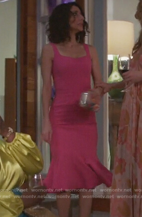 Delia's pink sleeveless flared hem dress on Girlfriends Guide to Divorce