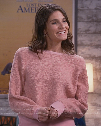 Leslie's pink fleece sweater on Living Biblically
