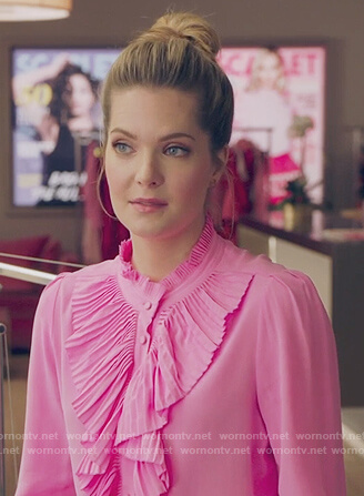 Sutton's pink ruffle front blouse on The Bold Type