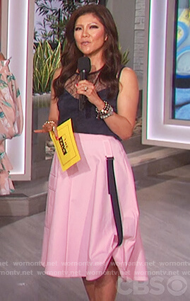 Julie's navy lace top and pink skirt on The Talk