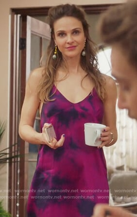 Phoebe's pink tie dyed dress on Girlfriends Guide to Divorce