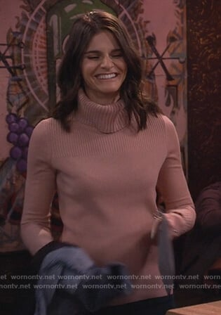 Leslie's pink turtleneck sweater on Living Biblically