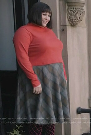 Plum's plaid midi skirt on Dietland