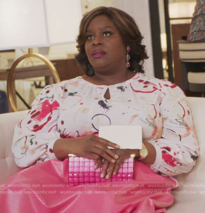 Barbara's print keyhole blouse on Girlfriends Guide to Divorce