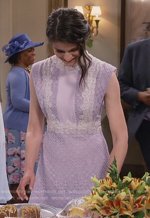 Leslie's purple lace mini dress on Living Biblically