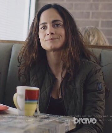 Teresa's green quilted bomber jacket on Queen of the South