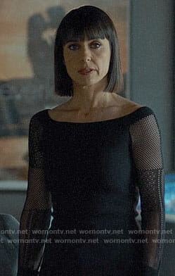 Quinn's black fishnet sleeve off-shoulder top on UnReal