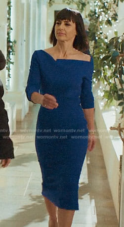 Quinn's blue dress with asymmetric neckline on UnReal
