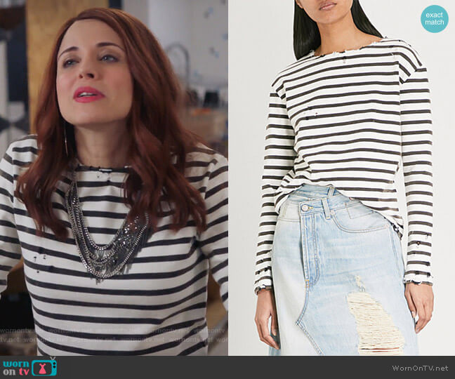 Breton striped distressed cotton-jersey top by R13 worn by Jo (Alanna Ubach) on GG2D
