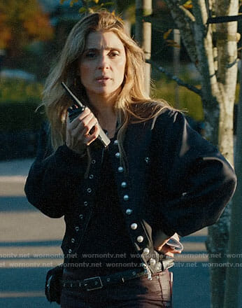 Rachel's black bomber jacket with pearl buttons on UnReal