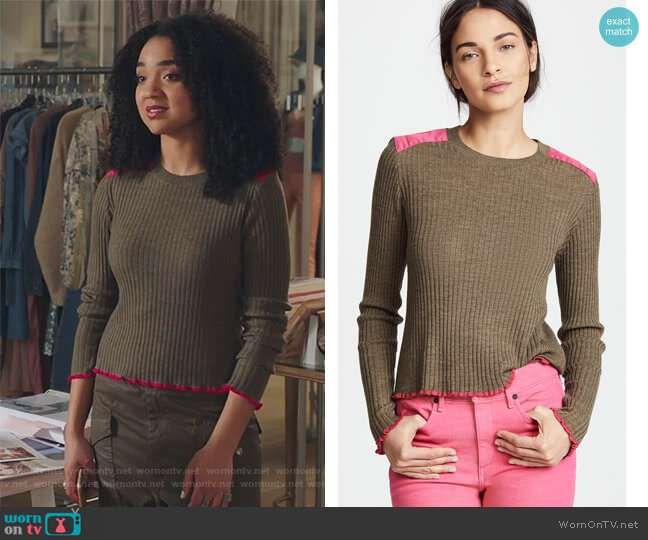 Rowan Crew Sweater by Rag & Bone worn by Aisha Dee on The Bold Type
