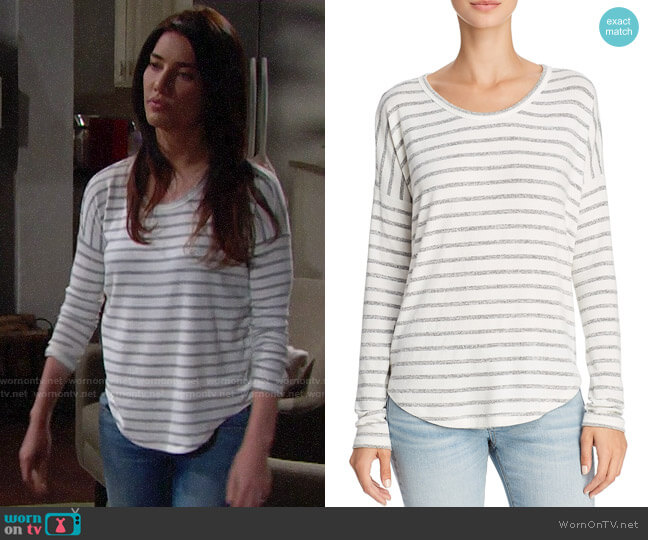 Rag and Bone Drop-Shoulder Striped Tee worn by Steffy Forrester (Jacqueline MacInnes Wood) on The Bold & the Beautiful
