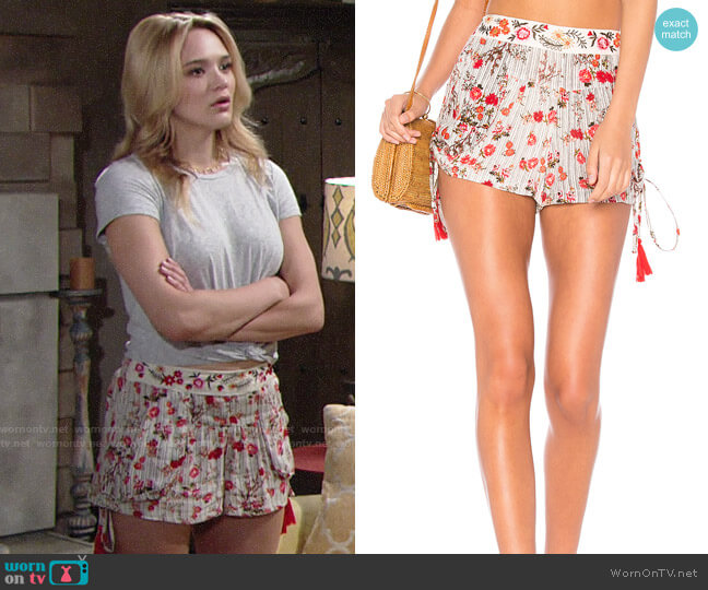 Raga Primrose Drawstring Shorts worn by Hunter King on The Young & the Restless