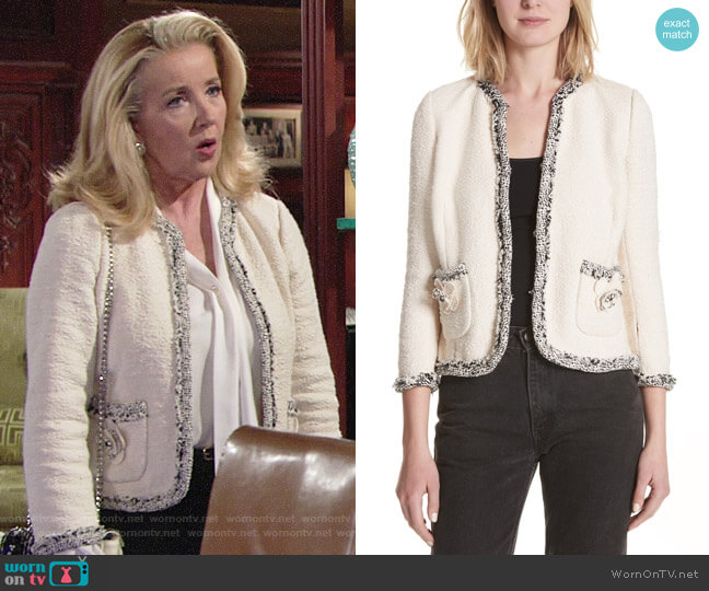 Rebecca Taylor Braided Trim Tweed Jacket worn by Melody Thomas-Scott on The Young & the Restless