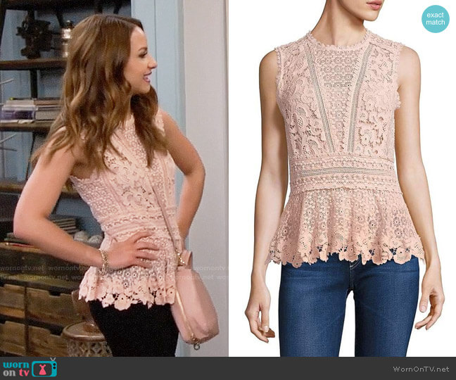 Rebecca Taylor Sleeveless Lace Peplum Top worn by Aimee Carrero on Young & Hungry