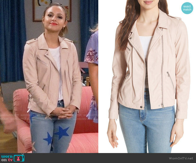 Rebecca Taylor Leather Moto Jacket worn by Sofia Rodriguez (Aimee Carrero) on Young & Hungry