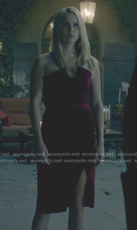 Rebekah's pink velvet strapless dress on The Originals