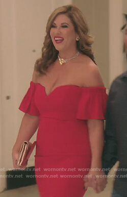 Emily's red off shoulder mini dress on The Real Housewives of Orange County