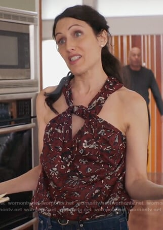 Abby's red floral print halterneck top on Girlfriends Guide to Divorce