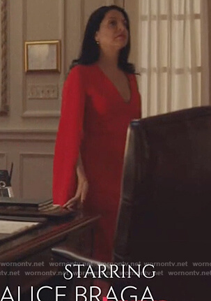 Camila's red split sleeve dress on Queen of the South