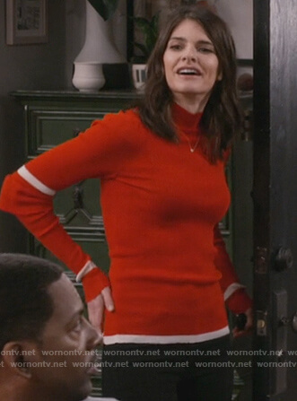 Leslie's red striped sleeve turtleneck sweater on Living Biblically