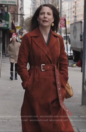 Verena Baptist's brown suede coat on Dietland