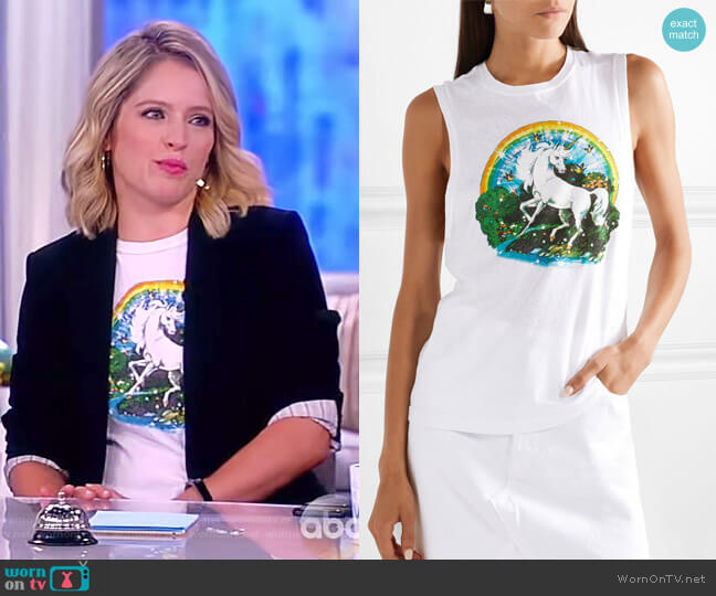 Printed slub cotton-jersey tank by Re/Done worn by Sara Haines on The View