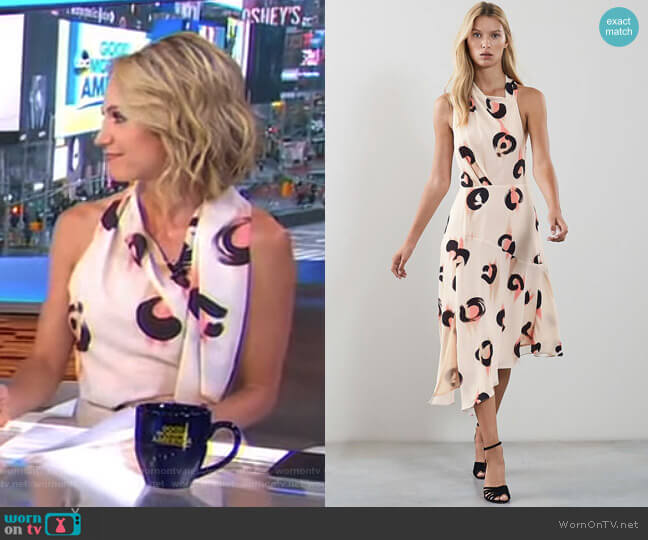 Roya Abstract Leopard Print Midi Dress by Reiss worn by Amy Robach  on Good Morning America