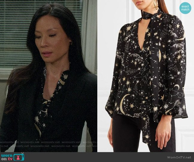 Rixo London Moss Star Print Blouse worn by Lucy Liu on Elementary