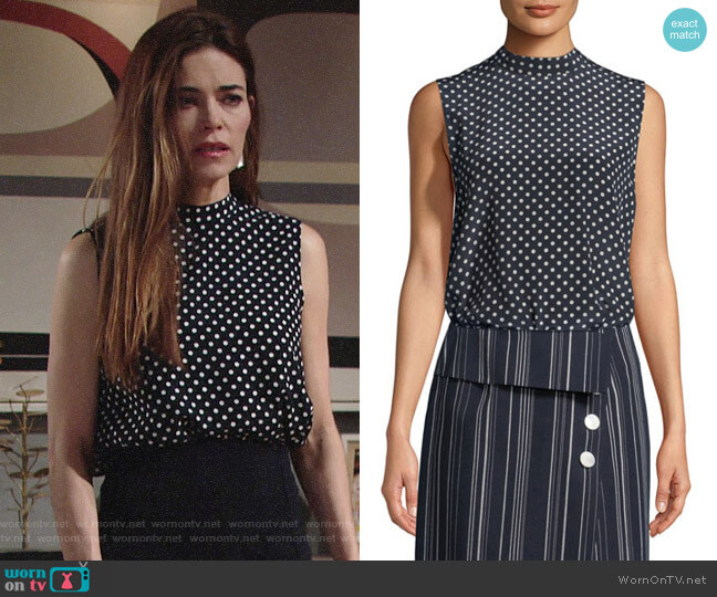 Robert Rodriguez Open-Back Polka-Dot Blouse worn by Victoria Newman (Amelia Heinle) on The Young & the Restless