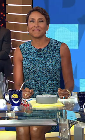 Robin's blue floral ruched dress on Good Morning America