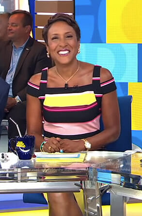 Robin's striped cold-shoulder dress on Good Morning America