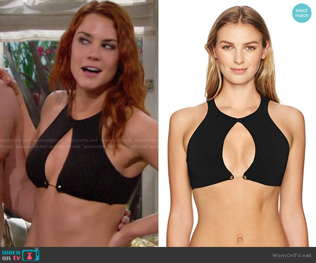 Robin Piccone Luca High Neck Bikini Top worn by Courtney Hope on The Bold & the Beautiful