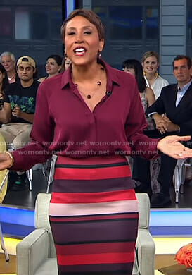 Robin's red striped pencil skirt on Good Morning America