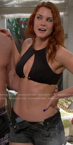 Sally's black barbell bikini on The Bold and the Beautiful
