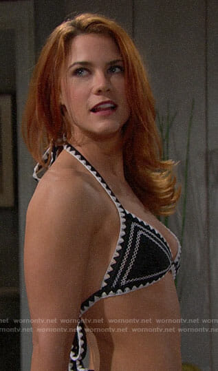 Sally's black and white bikini on The Bold and the Beautiful