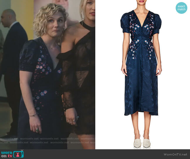 Lea Floral-Embroidered Silk Dress by Saloni worn by Clare Bowen on Nashville