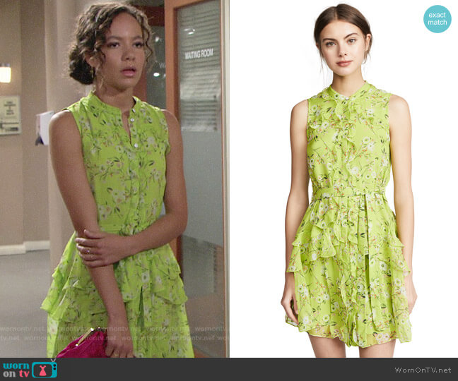 Saloni Lime Pimpernel Tilly Dress worn by Lexie Stevenson on The Young & the Restless