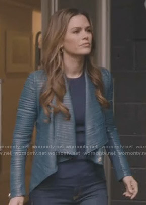 Sam's blue pleated leather jacket on Take Two