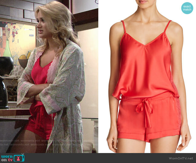 Sam Edelman Camisole & Shorts Sleep Set worn by Summer Newman (Hunter King) on The Young & the Restless