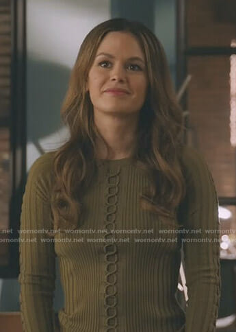 Sam's green lace-up ribbed sweater on Take Two