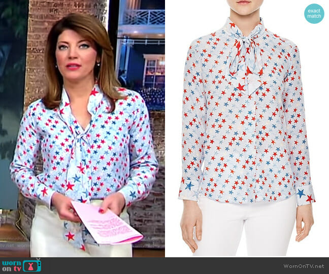 Space Tie-neck Silk Shirt by Sandro worn by Norah O'Donnell  on CBS This Morning