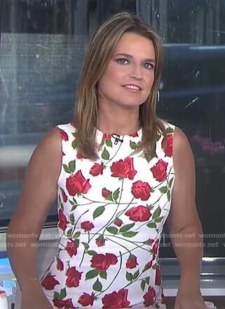 Savannah's white rose print sleeveless dress on Today