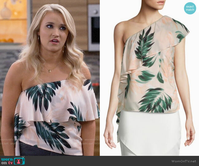 Scripted Palm-Print One Shoulder Ruffle Top worn by Emily Osment on Young & Hungry