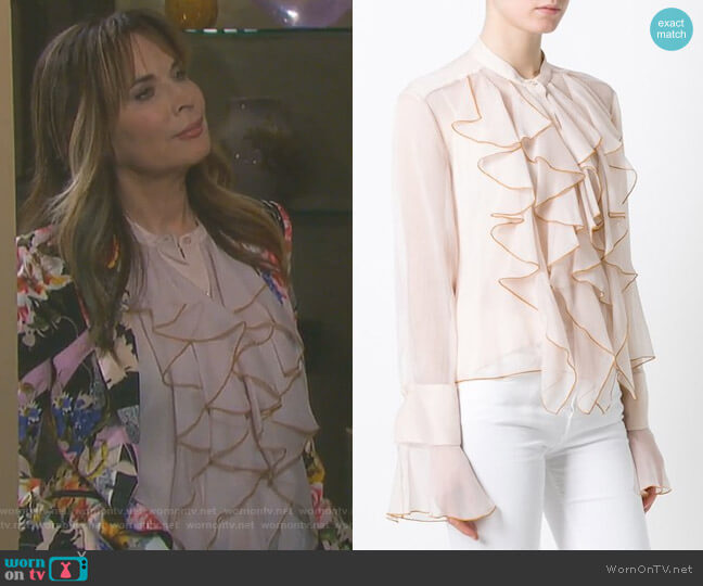 Ruffled Bell Sleeve Blouse by See by Chloe worn by Lauren Koslow on Days of our Lives